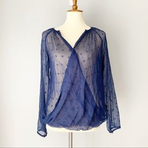Ella Moss Blue Dot Sheer Wrap Top